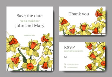 Vector Narcissus floral botanical flower. Yellow and green engraved ink art. Wedding background card floral decorative border. Thank you, rsvp, invitation elegant card illustration graphic set banner. stock vector