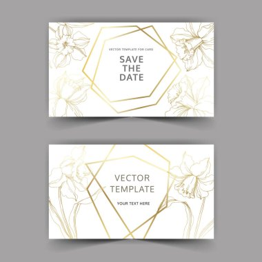 Vector Narcissus floral botanical flower. Golden engraved ink art. Wedding background card floral decorative border. Thank you, rsvp, invitation elegant card illustration graphic set banner. clip art vector