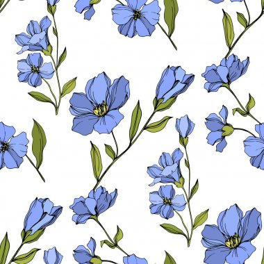 Vector Flax floral botanical flowers. Wild spring leaf wildflower isolated. Blue and green engraved ink art. Seamless background pattern. Fabric wallpaper print texture. clip art vector