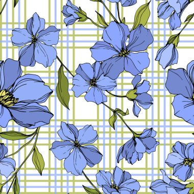 Vector Flax floral botanical flowers. Wild spring leaf wildflower isolated. Blue and green engraved ink art. Seamless background pattern. Fabric wallpaper print texture. stock vector