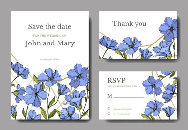 Vector Flax floral botanical flowers. Blue and green engraved ink art. Wedding background card floral decorative border. Thank you, rsvp, invitation elegant card illustration graphic set banner. stock vector