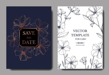Vector Flax floral botanical flowers. Blue and copper engraved ink art. Wedding background card floral decorative border. Thank you, rsvp, invitation elegant card illustration graphic set banner. clip art vector