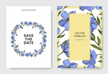 Vector Flax floral botanical flowers. Blue and green engraved ink art. Wedding background card floral decorative border. Thank you, rsvp, invitation elegant card illustration graphic set banner. stock vector