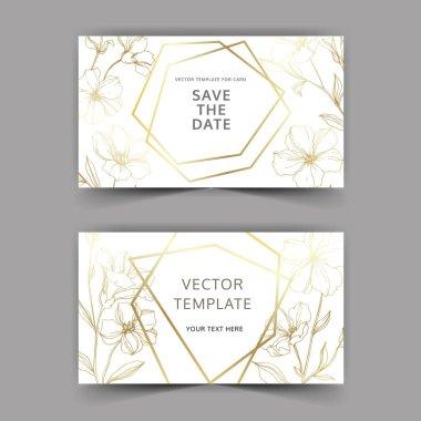 Vector Flax floral botanical flowers. Golden engraved ink art. Wedding background card floral decorative border. Thank you, rsvp, invitation elegant card illustration graphic set banner. clip art vector
