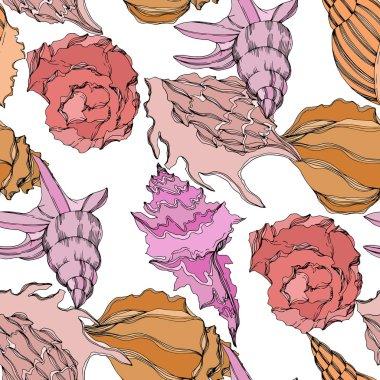 Vector Summer beach seashell tropical elements. Seamless background pattern. stock vector