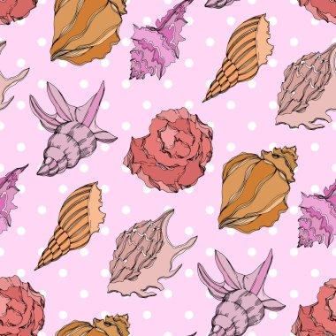 Vector Summer beach seashell tropical elements. Seamless background pattern. clip art vector