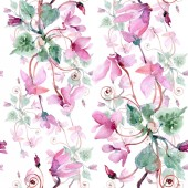 Bouquet floral botanical flowers. Watercolor background illustration set. Seamless background pattern.