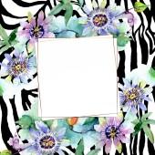 Kytice květinové botanické květin. Sada akvarel pozadí obrázku. Frame hranice ozdoba náměstí.