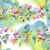 Csokor virág botanikai virágok. Akvarell háttér illusztráció készlet. Varratmentes háttérben minta.