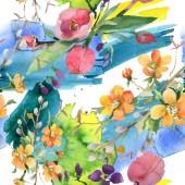 Kytice květinové botanické květin. Sada akvarel pozadí obrázku. Vzor bezešvé pozadí.