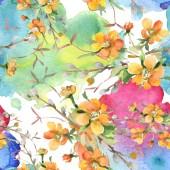 Blumenstrauß botanische Blumen. Aquarell Hintergrundillustration Set. nahtloses Hintergrundmuster.