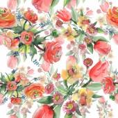 Fotografie Bouquet Blumen botanische Blumen. Aquarell-Hintergrund-Illustration-Set. Nahtloses Hintergrundmuster.