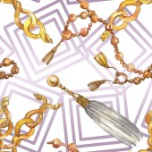 Golden chains sketch illustration in a watercolor style isolated element. Seamless background pattern.