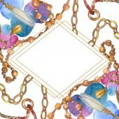 Golden chains sketch watercolor style element. Watercolour background illustration set. Frame border ornament square.