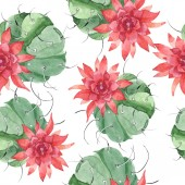 Green cactus floral botanical flower. Watercolor background illustration set. Seamless background pattern.