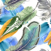 Watercolor bird feather from wing isolated. Aquarelle feather for background. Seamless background pattern.