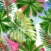 Palme Strand Blätter Dschungel botanischen. Aquarell Hintergrundillustration Set. nahtloses Hintergrundmuster.