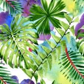 Fotografie Palmenstrand Blätter Dschungel botanische. Aquarell-Hintergrund-Illustration-Set. Nahtloses Hintergrundmuster.