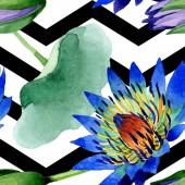 Blue lotus floral botanical flowers. Watercolor background illustration set. Seamless background pattern.