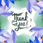 Kék lótusz virágos botanikai virágok. Akvarell háttér illusztráció meg. Keretszegély Dísz tér.
