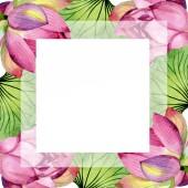 Pink lotus floral botanical flowers. Watercolor background illustration set. Frame border ornament square.