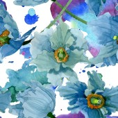 Fényképek Kék pipacs virágos botanikai virágok. Akvarell háttér illusztráció meg. Folytonos háttérmintázat.