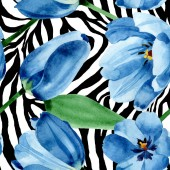 Blue tulip floral botanical flowers. Watercolor background illustration set. Seamless background pattern.