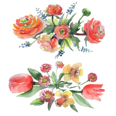 Bouquet floral botanical flowers. Watercolor background illustration set. Isolated bouquets illustration element.
