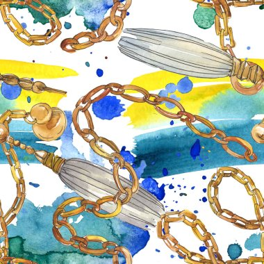 Golden chains sketch glamour illustration in a watercolor style element. Clothes accessories aqurelle set trendy vogue outfit. Watercolour seamless background pattern. Fabric wallpaper print texture. stock vector
