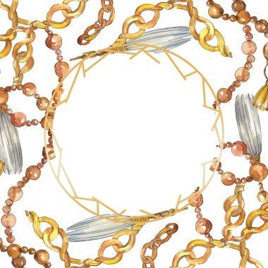 Golden chains sketch illustration in a watercolor style element. Clothes accessories aqurelle set trendy vogue outfit. Watercolour background illustration set. Frame border ornament square. stock vector