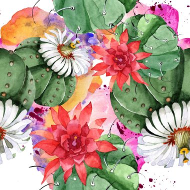 Green cactus floral botanical flower. Wild spring wildflower. Watercolor illustration set. Watercolour drawing fashion aquarelle. Seamless background pattern. Fabric wallpaper print texture. stock vector
