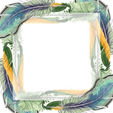 Watercolor bird feather from wing isolated. Aquarelle feather for background. Frame border ornament square.