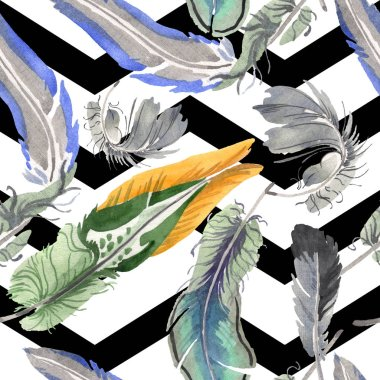 Watercolor bird feather from wing isolated. Aquarelle feather for background, texture, wrapper pattern, frame or border. Seamless background pattern. Fabric wallpaper print texture. stock vector