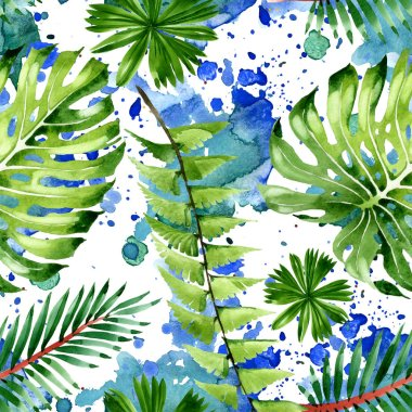 Exotic tropical hawaiian summer. Palm beach tree leaves. Watercolor illustration set. Watercolour drawing fashion aquarelle. Seamless background pattern. Fabric wallpaper print texture. stock vector