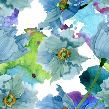 Blue poppy floral botanical flowers. Watercolor background illustration set. Seamless background pattern.