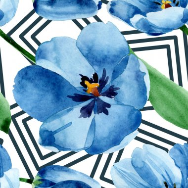 Blue tulip floral botanical flowers. Wild spring leaf wildflower. Watercolor illustration set. Watercolour drawing fashion aquarelle. Seamless background pattern. Fabric wallpaper print texture. stock vector