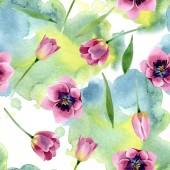 Fotografie rosa Tulpen mit botanischen Blüten. Aquarell Hintergrundillustration Set. nahtloses Hintergrundmuster.