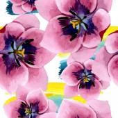 Pink tulips floral botanical flowers. Watercolor background illustration set. Seamless background pattern.
