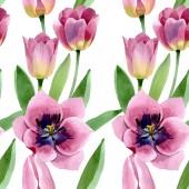 Fényképek Pink tulips floral botanical flowers. Watercolor background illustration set. Seamless background pattern.
