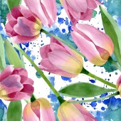 Pink tulips floral botanical flowers. Watercolor background illustration set. Seamless background pattern.