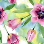 Pink tulipánok virágos botanikai virágok. Akvarell háttér illusztráció meg. Folytonos háttérmintázat.