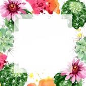 Zöld kaktusz virágos botanikus virágok. Akvarell háttér illusztráció meg. Keretszegély Dísz tér.