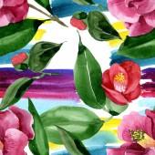 Vörös Camelia virágos botanikus virág. Akvarell háttér illusztráció meg. Folytonos háttérmintázat.