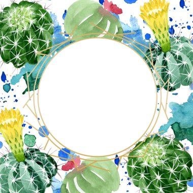 Green cactus floral botanical flowers. Wild spring leaf wildflower. Watercolor background illustration set. Watercolour drawing fashion aquarelle. Frame border ornament square. stock vector