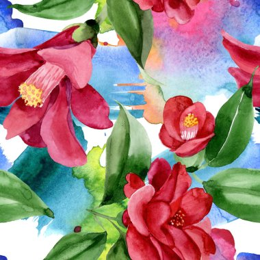 Red camelia floral botanical flower. Wild spring leaf wildflower. Watercolor illustration set. Watercolour drawing fashion aquarelle. Seamless background pattern. Fabric wallpaper print texture. stock vector