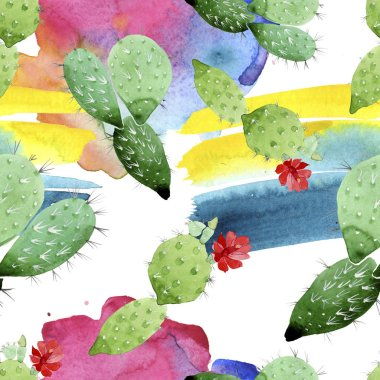 Green cactus floral botanical flowers. Wild spring leaf wildflower. Watercolor illustration set. Watercolour drawing fashion aquarelle. Seamless background pattern. Fabric wallpaper print texture. stock vector
