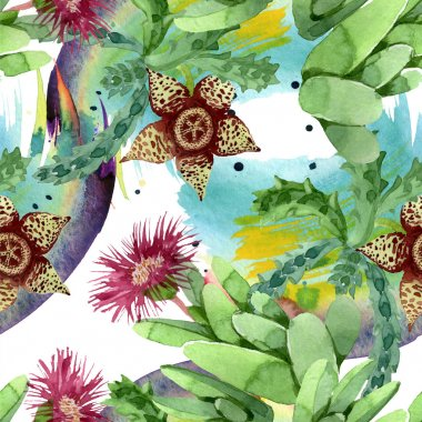 Green cactus floral botanical flower. Wild spring leaf wildflower. Watercolor illustration set. Watercolour drawing fashion aquarelle. Seamless background pattern. Fabric wallpaper print texture. stock vector