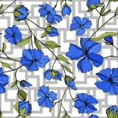 Vektor len virágos botanikai virágok. Kék és zöld gravírozott tinta művészet. Folytonos háttérmintázat.