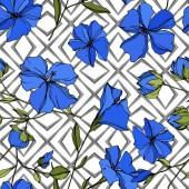 Fényképek Vektor len virágos botanikai virágok. Kék és zöld gravírozott tinta művészet. Folytonos háttérmintázat.