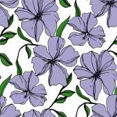Vektor len virágos botanikai virágok. Lila és zöld vésett tinta művészet. Folytonos háttérmintázat.